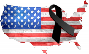 US Flag with Black Ribbon